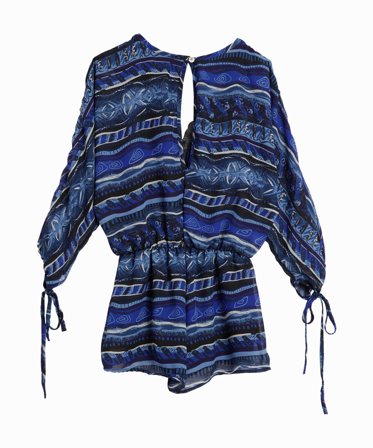 Printed Long Sleeve Romper