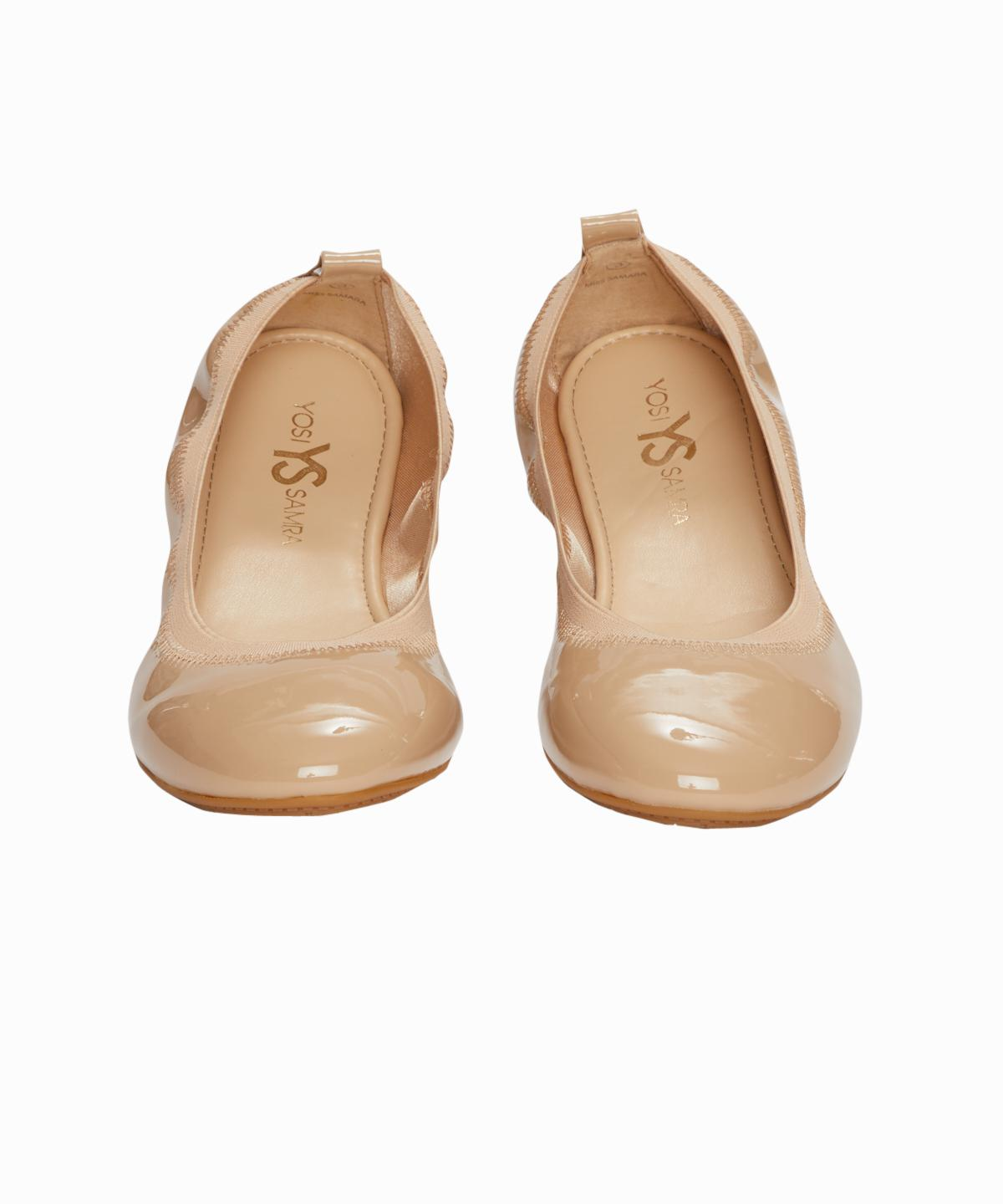 Beige Patent Leather Ballet Slippers