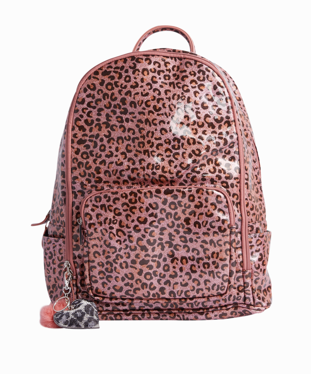 Pink Leopard Print PVC Backpack
