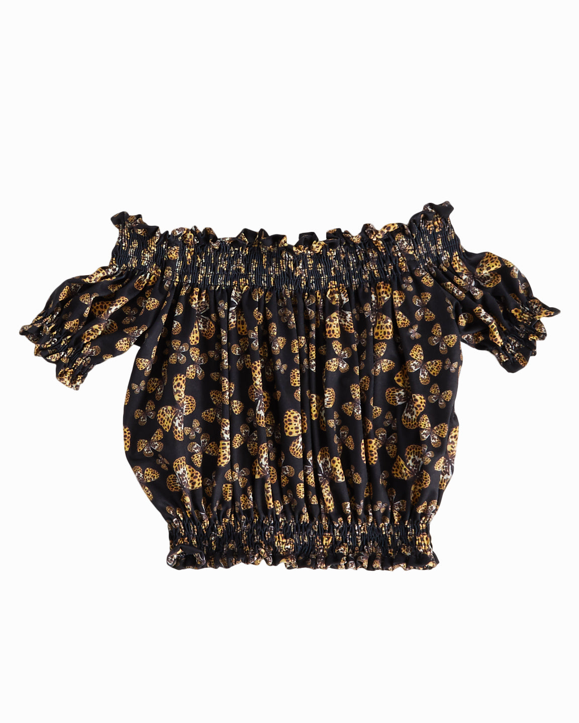Exclusive Butterfly Black Smocked Top