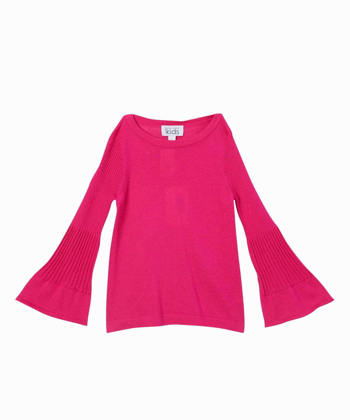 Bright Pink Ribbed Bell Sleeve Knit Sweater