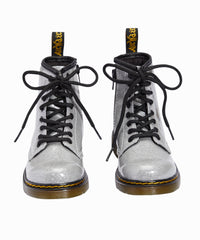 Coated Glitter Silver Combat Boots