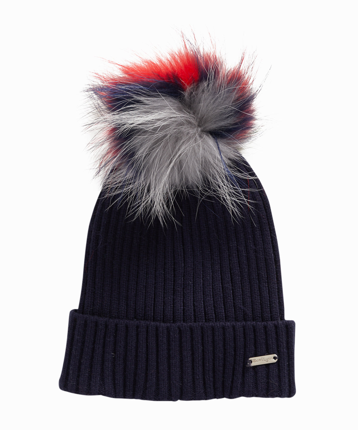 Fur Pom Ribbed Navy Hat