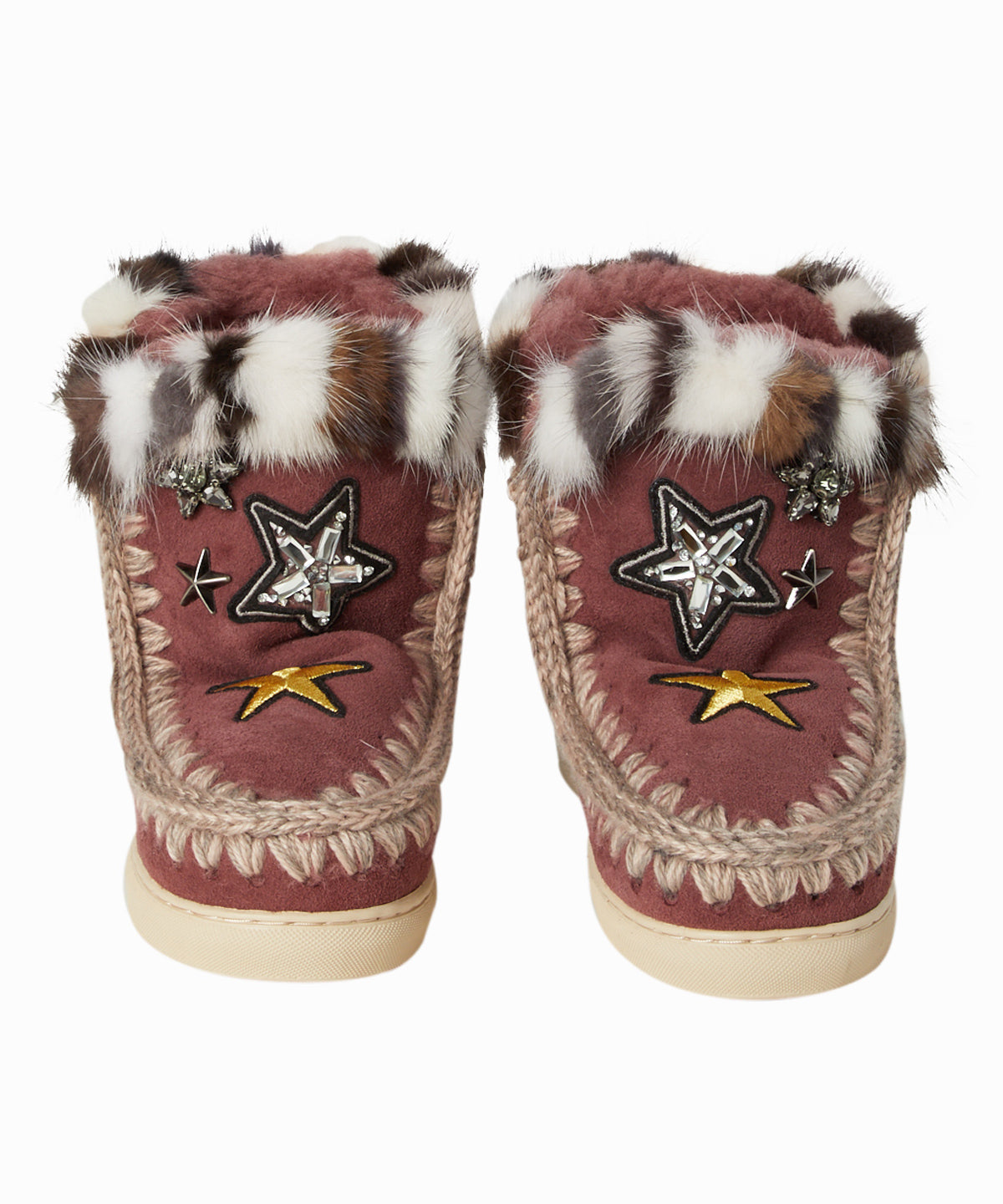 Mink Fur and Star Patches Sherpa Boots