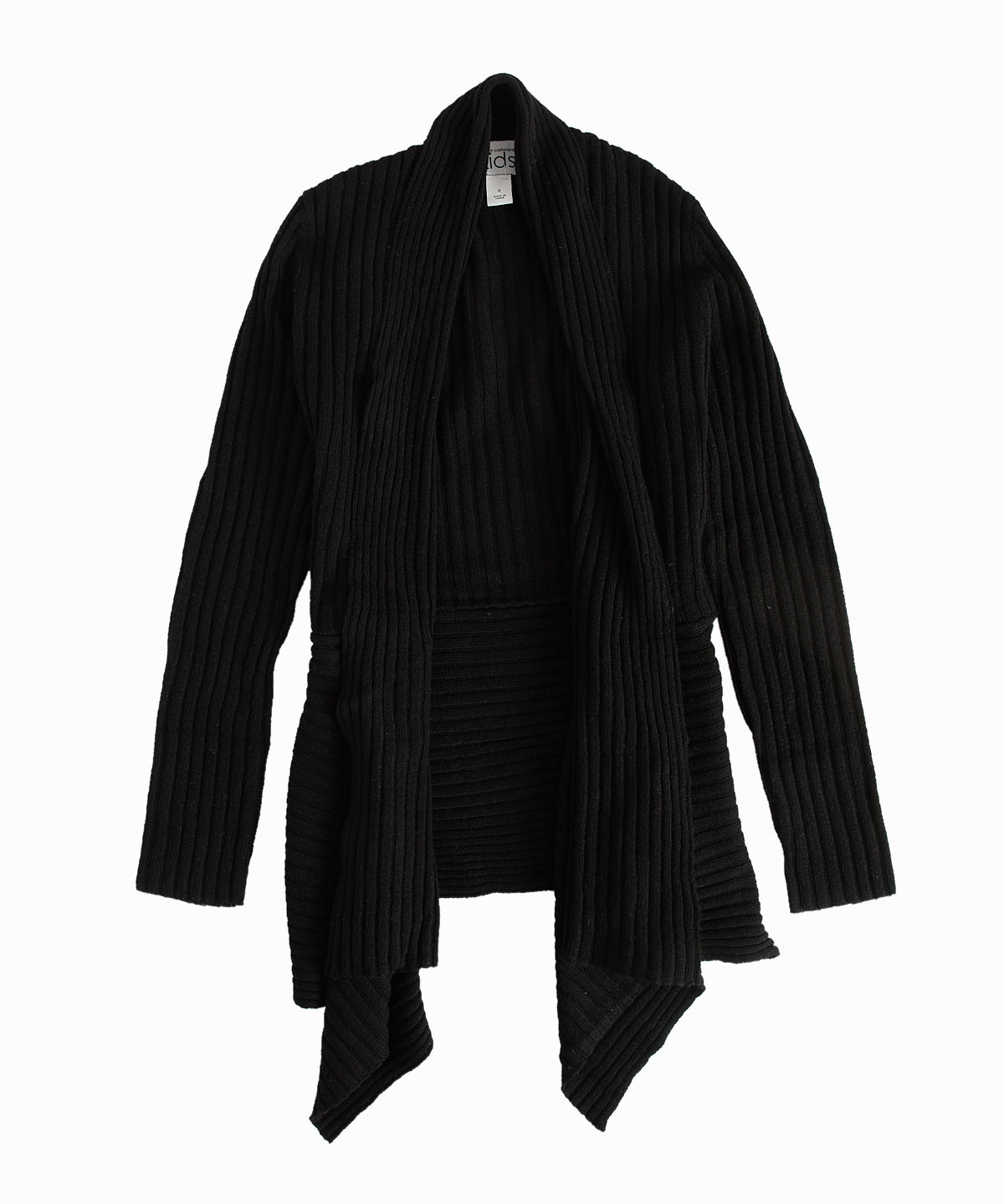 Ribbed Asymmetric Black Open Front Cardigan