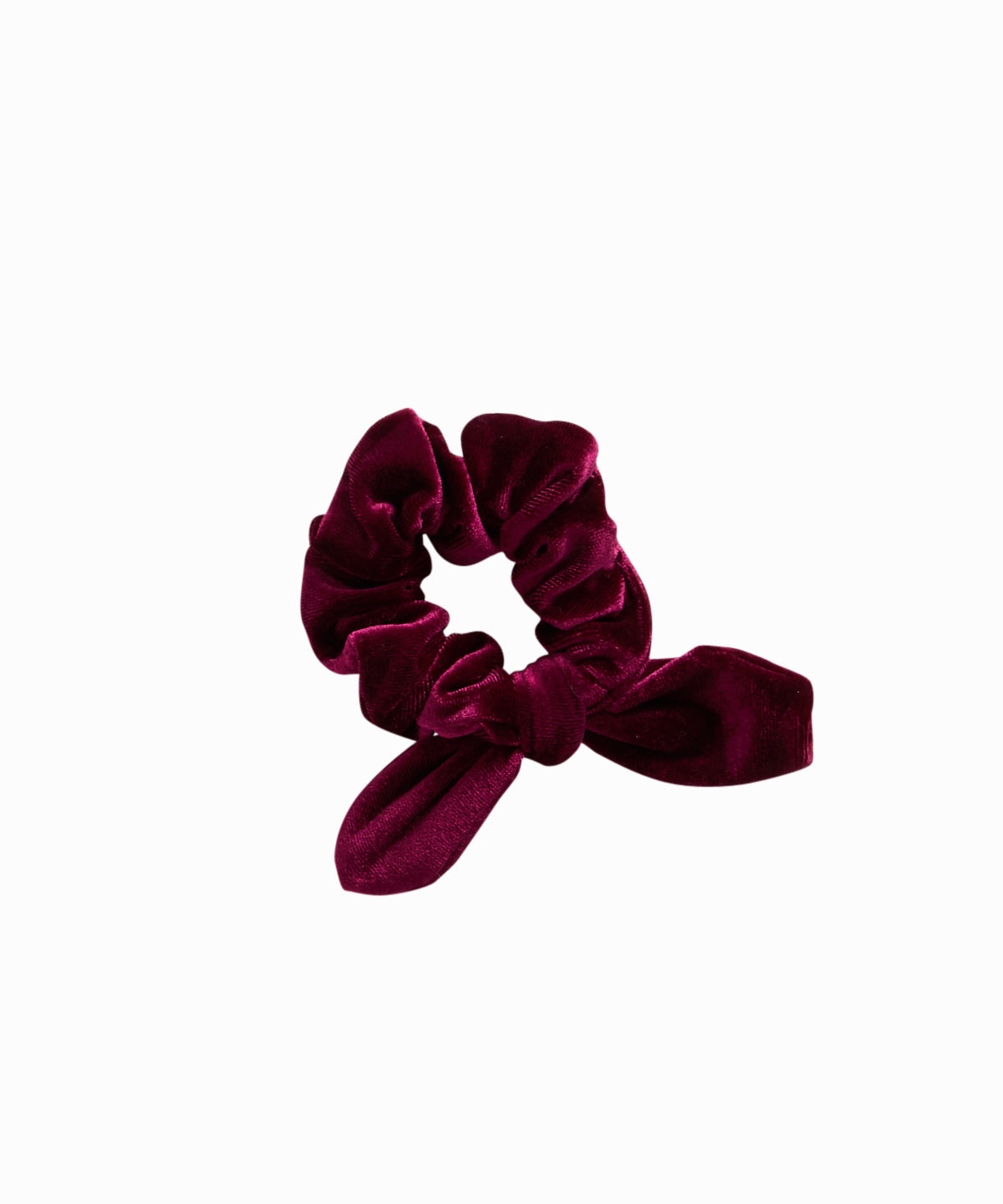 Burgundy Velvet Knotted Bow Scrunchie