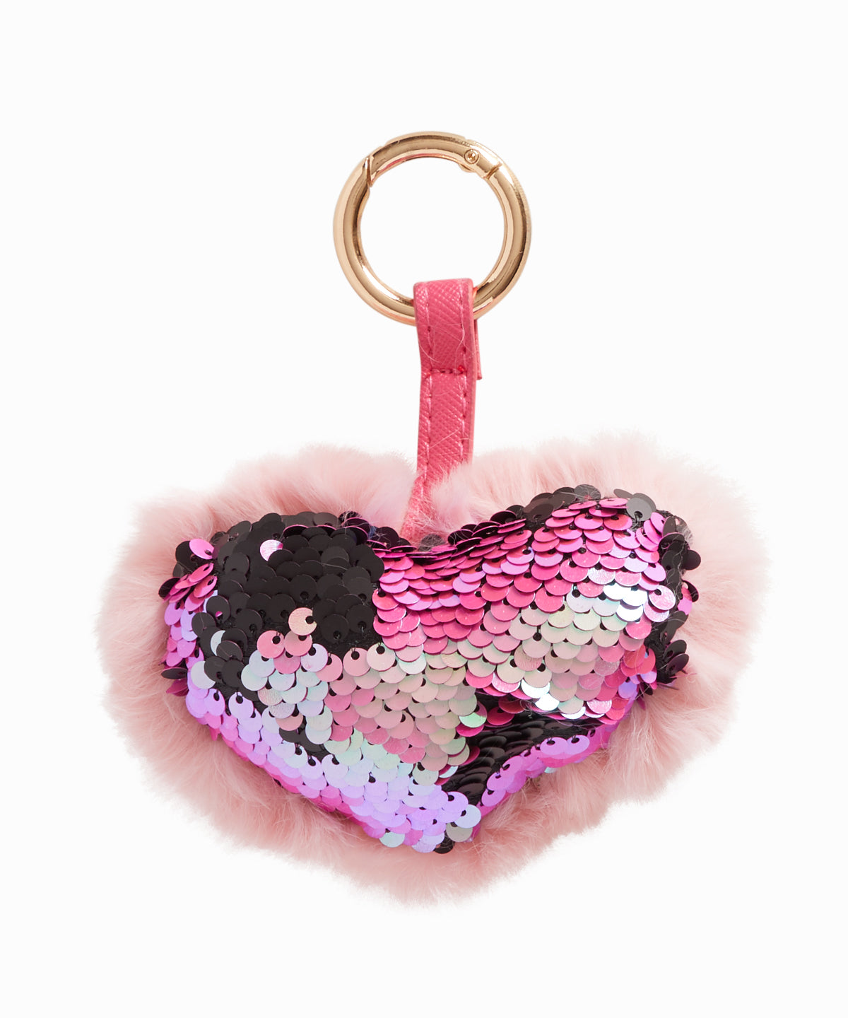 Pink Fur Sequin Heart Keychain