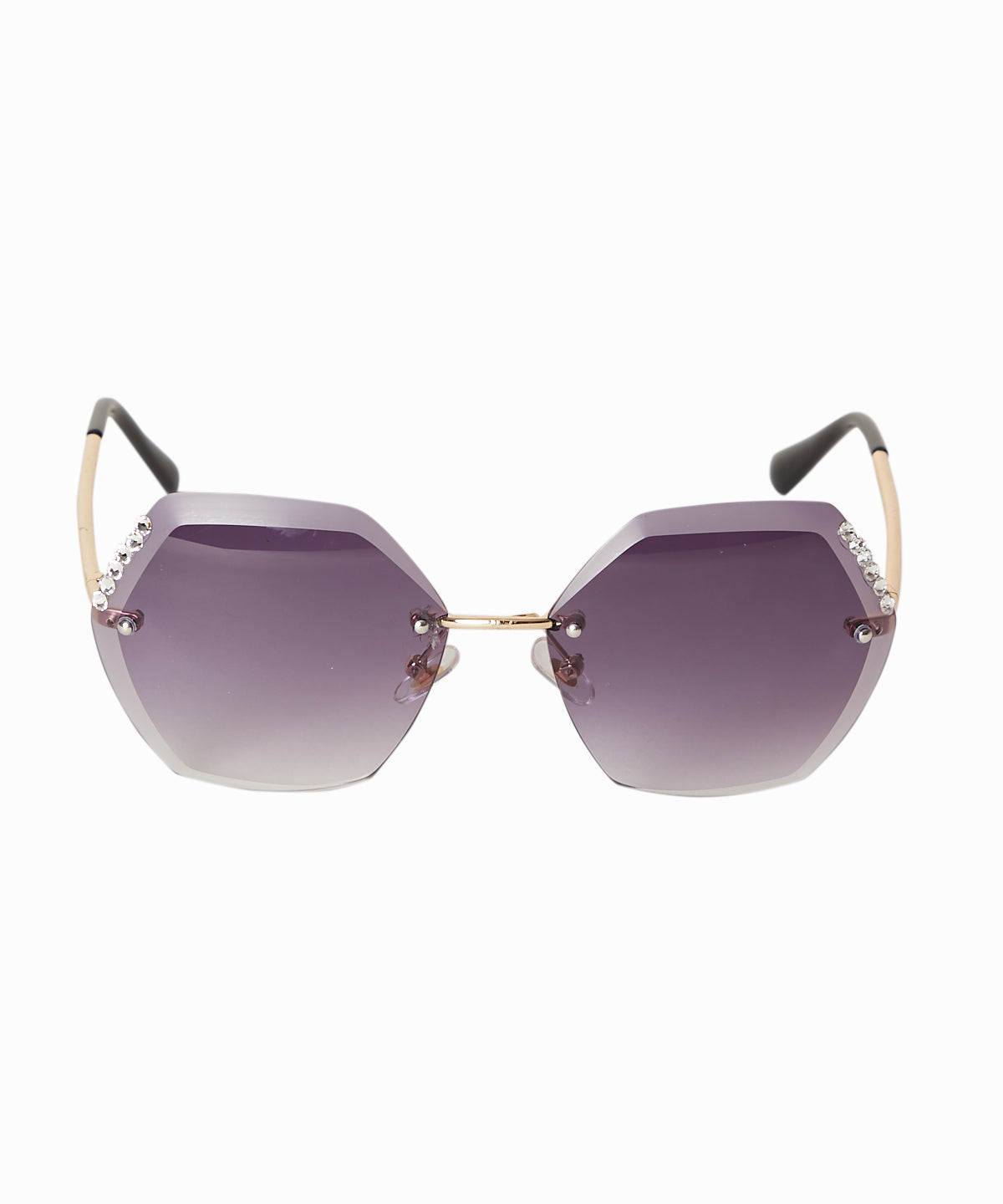 Crystal Detailed Hexagon Sunglasses