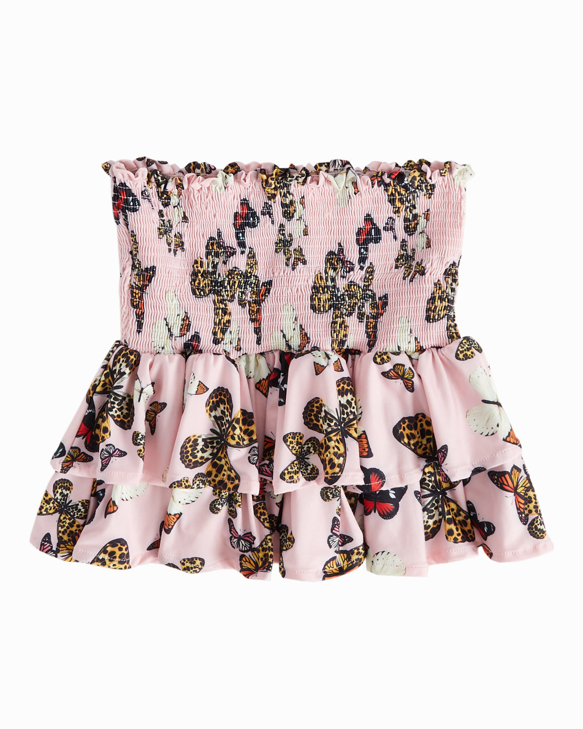 Exclusive Butterfly Pink Smocked Skirt