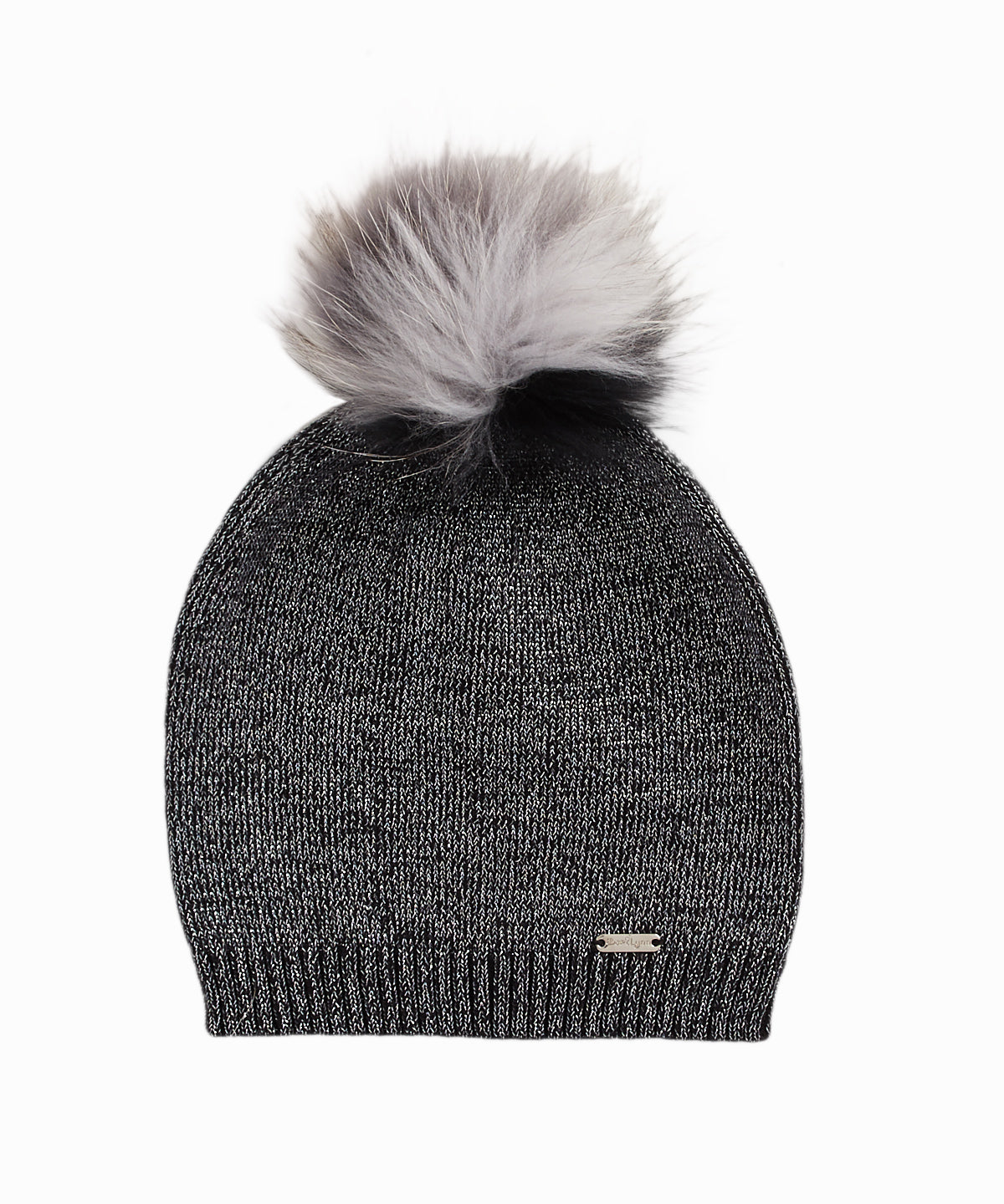 Black Sparkle Fur Pom Beanie Hat