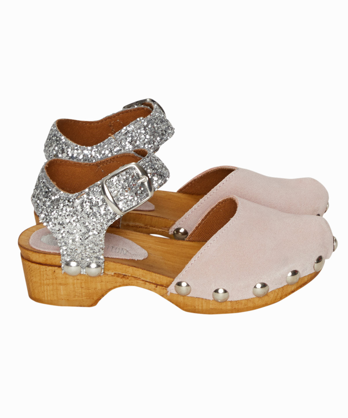 Silver Glitter Pink Clogs