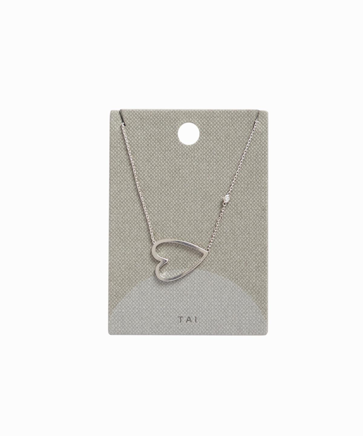 Silver Open Heart Charm Necklace