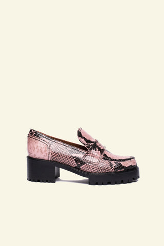 jerri / pink snakeskin embossed leather