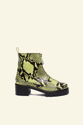 chris boot / lime embossed snakeskin