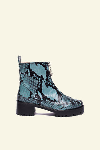 chris boot / blue embossed snakeskin
