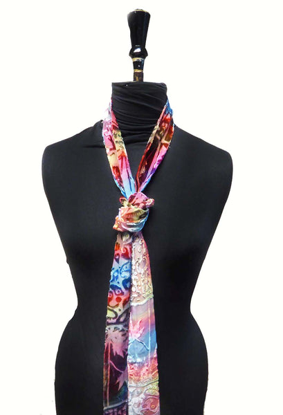 Squares devoré skinny scarf - jewel colours
