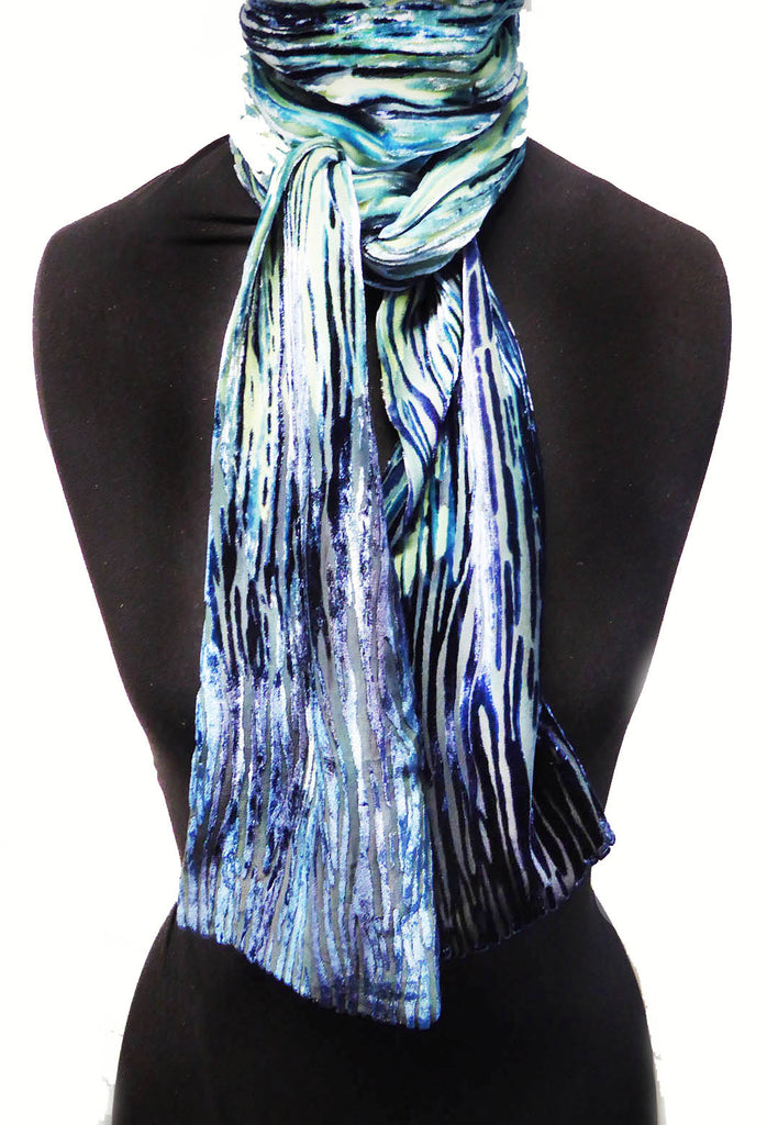 Silver birch devoré scarf - silver blue back