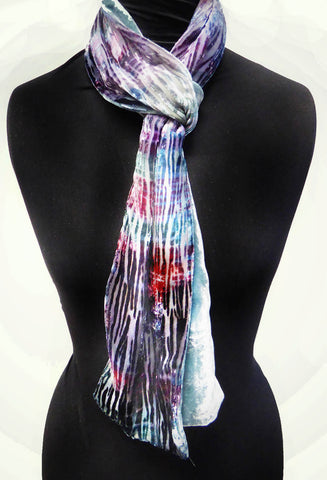 Silver birch devoré scarf - turquoise blue red