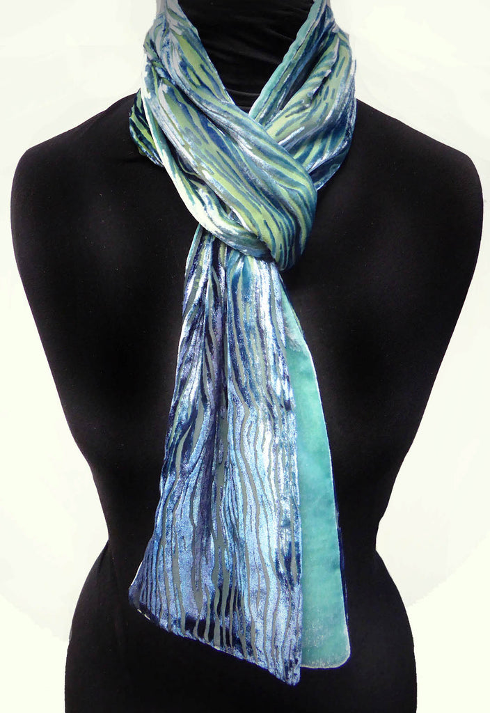 Silver birch devoré scarf - turquoise blue purple