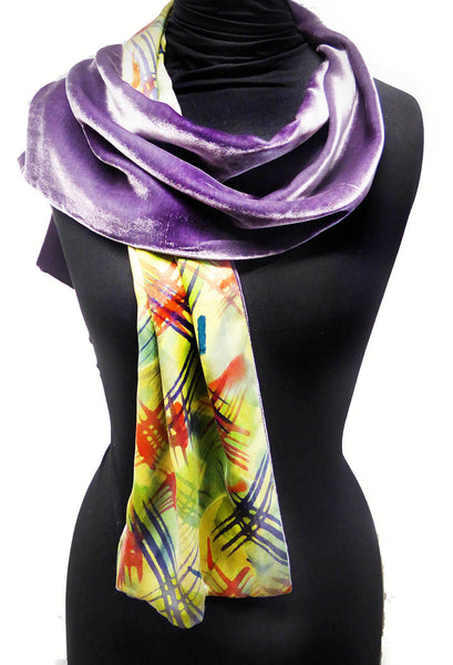Crosshatch scarf - green silk, purple velvet