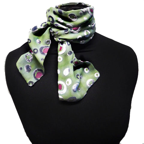 Bubbles devoré scarf - pink green