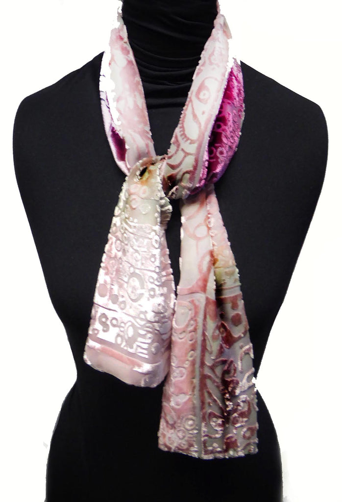 Squares devoré scarf - pinks and green