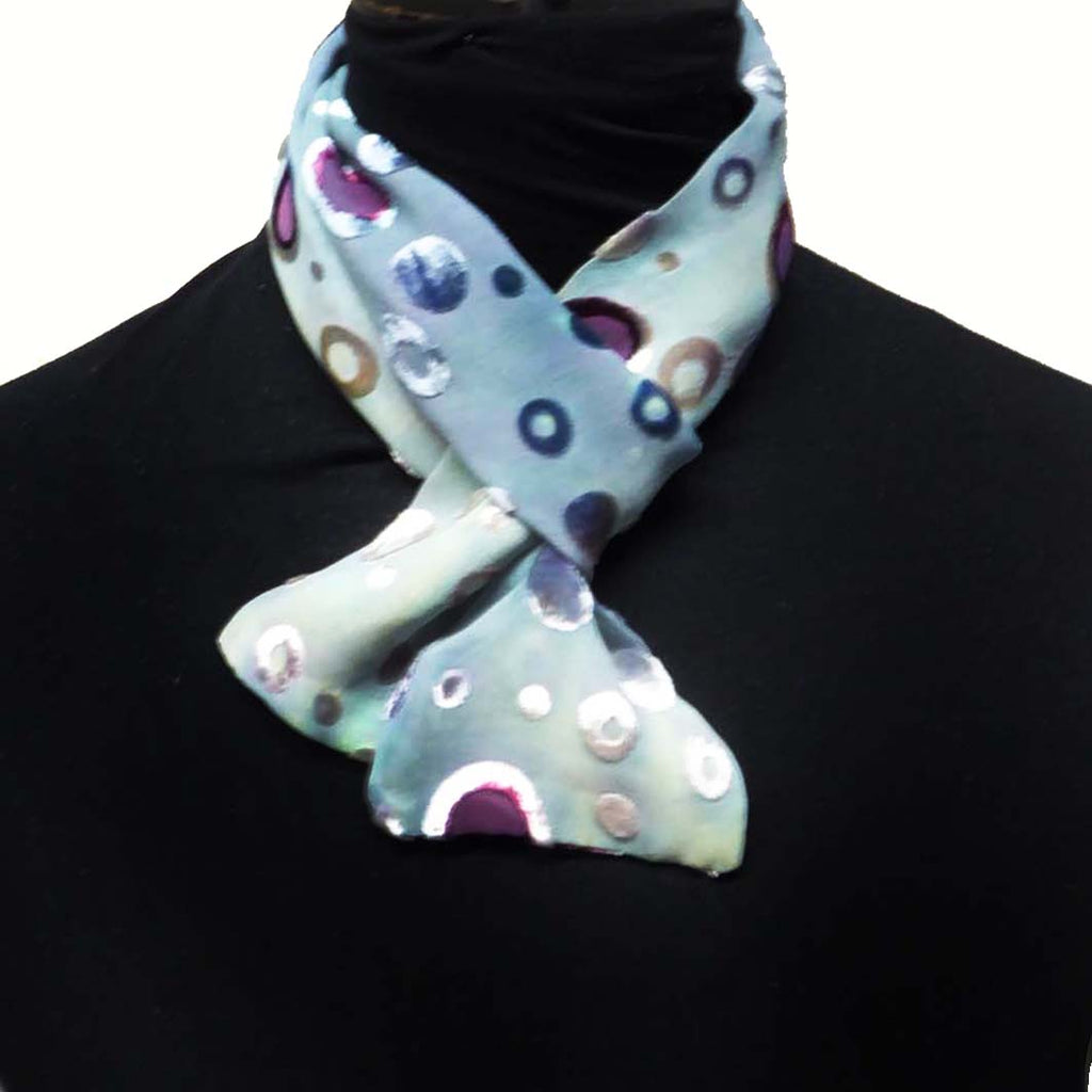 Bubbles devoré skinny scarf - blue cream petite