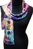 Cogs devoré scarf - blue jewel colours