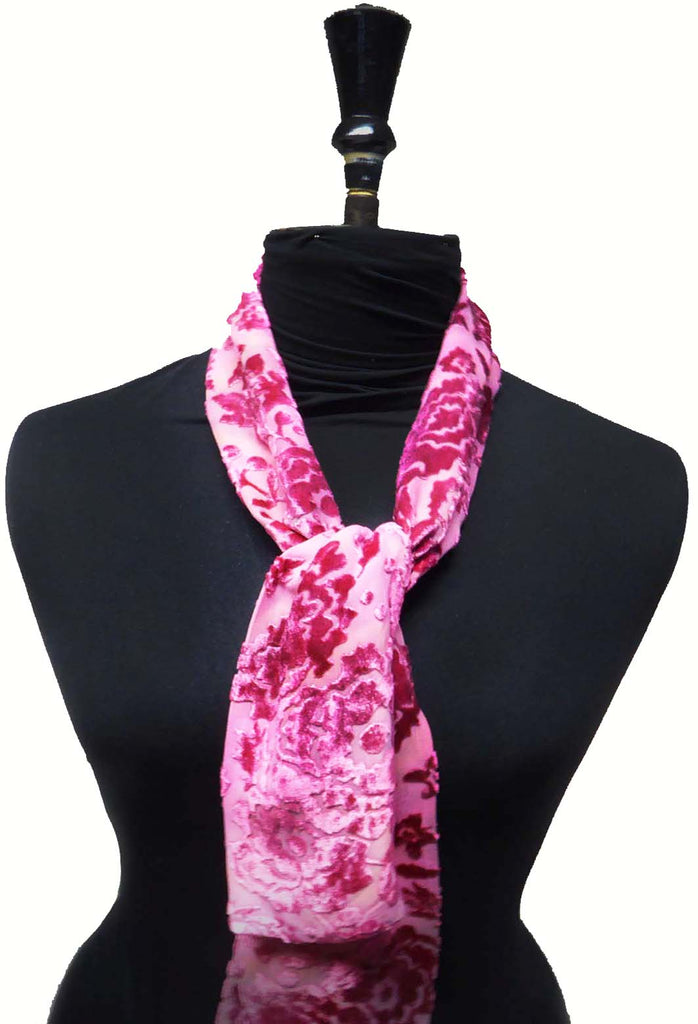 Flower garden scarf - floating pink flowers