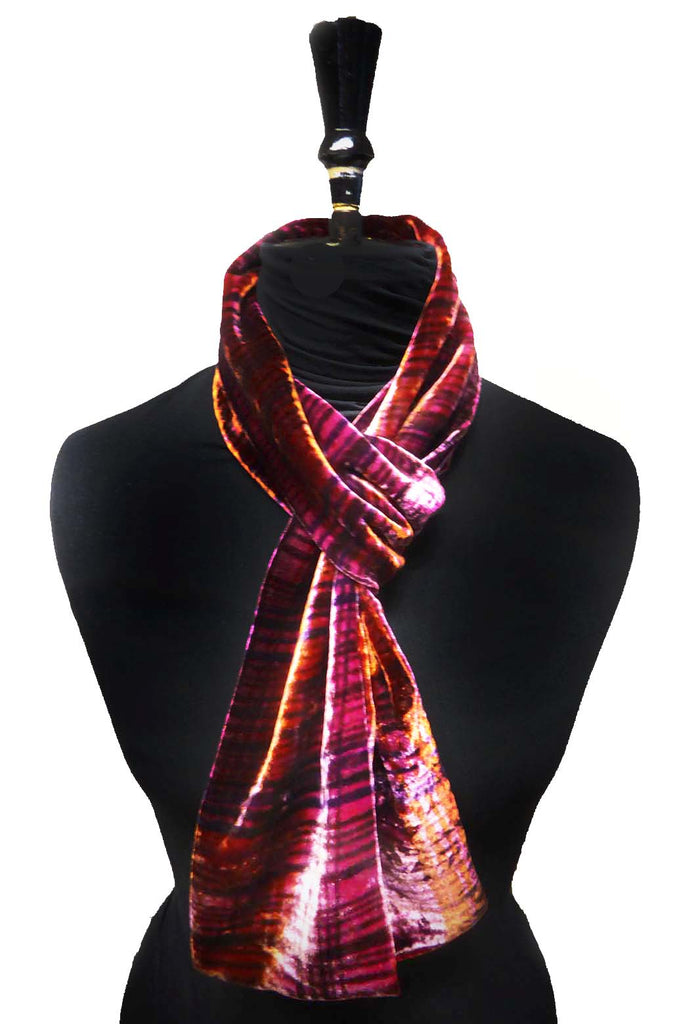 Feather stripes scarf - pink russet