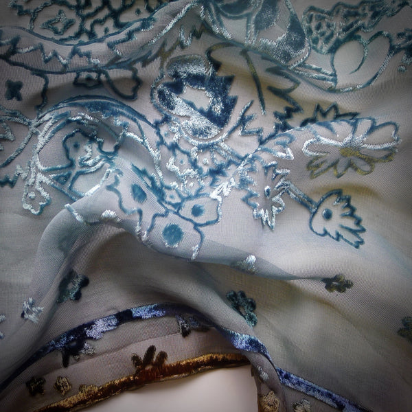 Hollyhock devoré scarf - blue antique