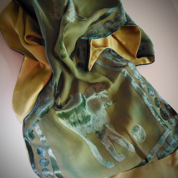 Cat devoré scarf - green