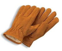 Radnor Large Brown Leather Pile Lined Cold Weather Gloves With Keystone Thumb, Slip On Cuffs, Color Coded Hem And Shirred Elastic Wrist