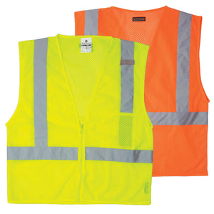 ML Kishigo Zipper Front Class II -Pocket Safety Vest Size 2X-large Color Lime