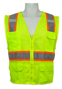 ML Kishigo - Ultra-Cool Multi-Pocket Vest Class 2 Safety Vest color Lime size 4X-large