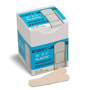 "Swift First Aid 3/4"" X 3"" Plastic Strip Adhesive Bandage (100 Per Box)"