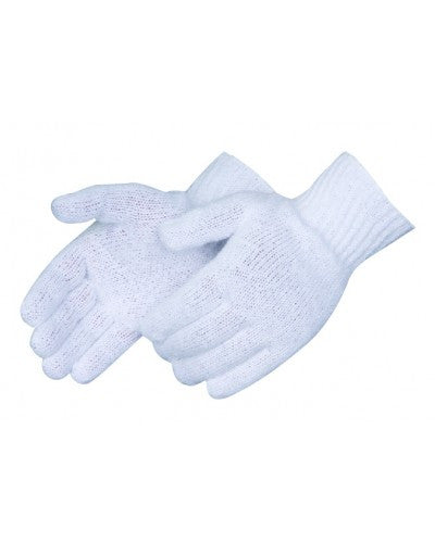 Bleach white cotton/ polyester knit Gloves - Dozen