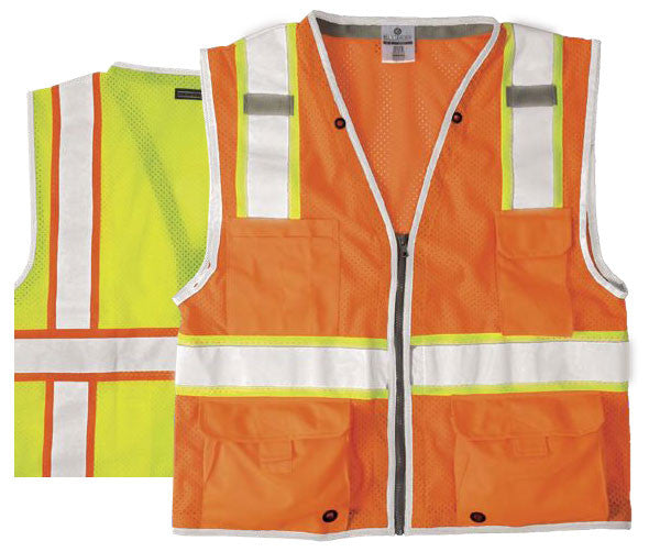 ML Kishigo - BRILLIANT SERIES Heavy Duty Class 2 Safety Vest Color Orange Size Large