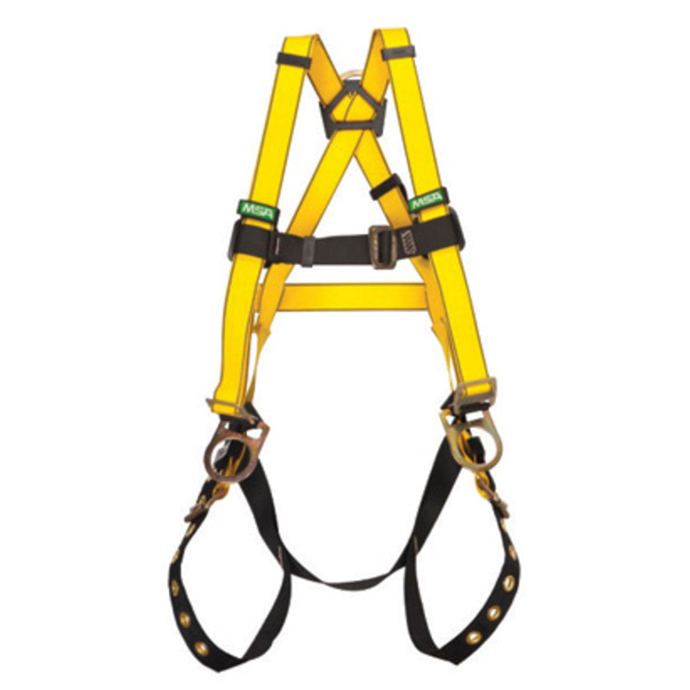 MSA Standard Gravity Welder's Vest Style Harness With Qwik-Fit Leg And Chest Strap Buckle, Back And D-Rings