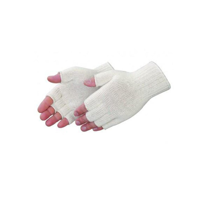 Fingerless natural white cotton/ polyester knit Gloves - Dozen
