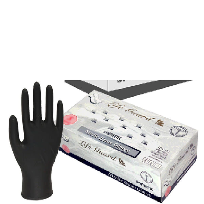 Life Guard Black Nitrile Powder-Free Medical Gloves- Case