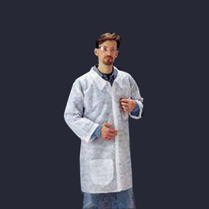 Radnor White Spunbond Polypropylene Disposable Labcoat