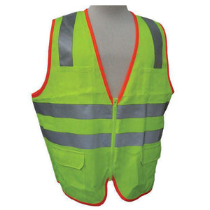 3A Safety - ANSI Certified Safety Vest with Contrasting Outline Lime Color Size X-large