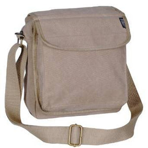 Everest Luggage Canvas Front Pocket Messenger  - Khaki