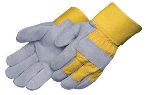 Select Shoulder - Rubberized Cuff, Grey Leather/Yellow Heavy Cotton Drill Back Gloves - Dozen