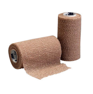 "3M 4"" X 5 Yard Roll Tan Coban Self-Adherent Elastic Wrap"