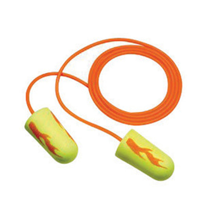 3M E-A-Rsoft Tapered Foam/Polyurethane Corded Earplugs (100 Pairs Corded Earplugs - Pack)