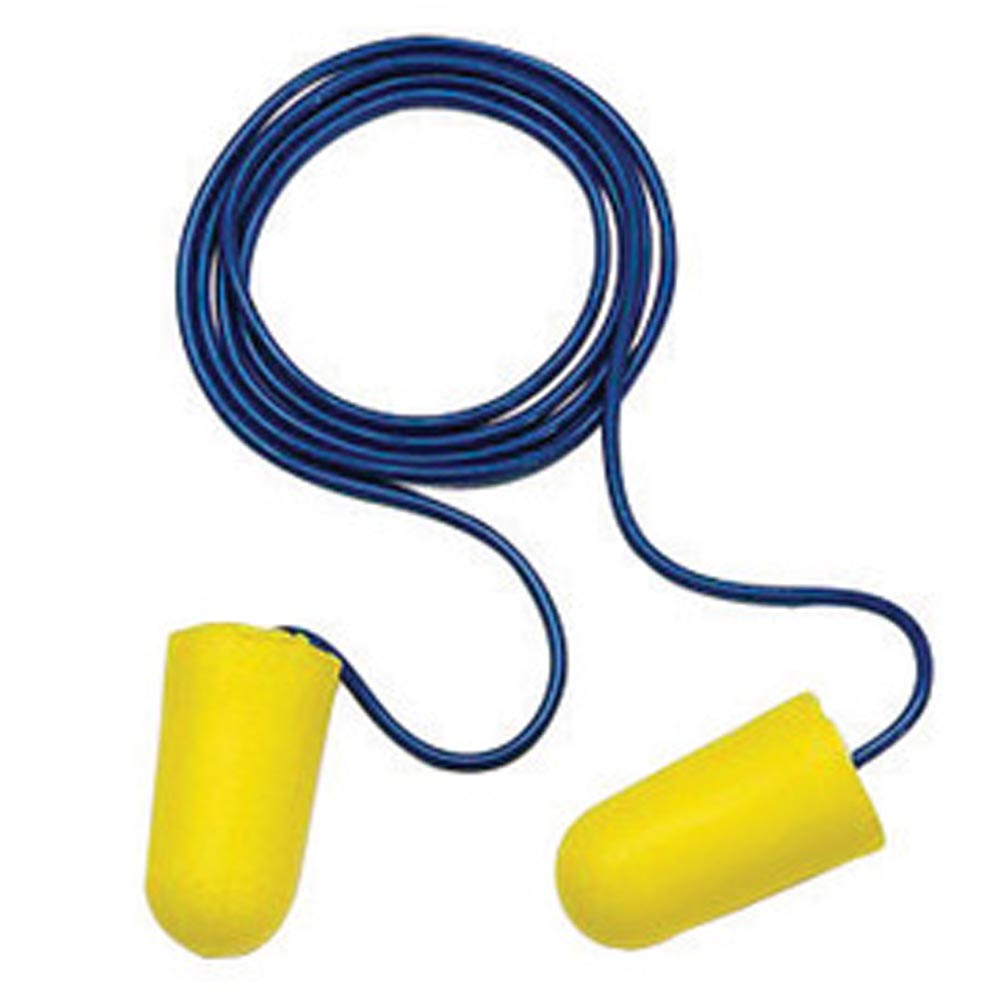 3M E-A-R Tapered Foam Polyurethane Corded Earplugs (200 Pairs Corded Earplugs - Pack)