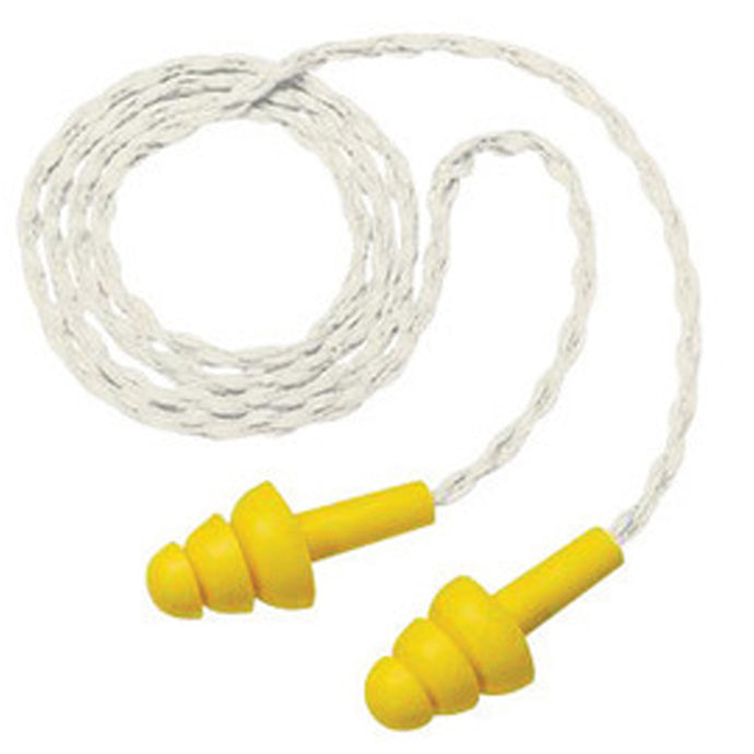 3M E-A-R Multi-Flange Polymer Corded Earplugs (100 Pairs Corded Earplugs - Pack)