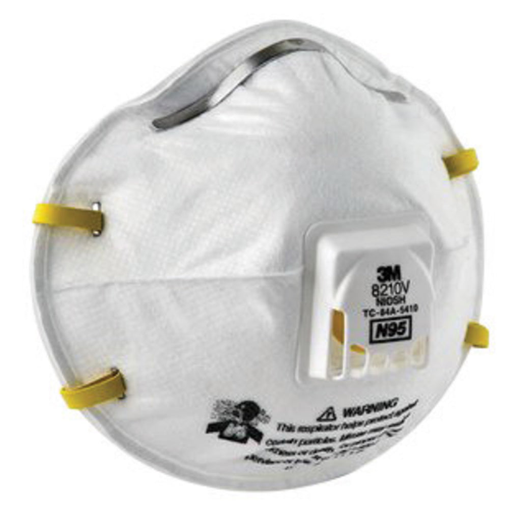 3M 8210V N95 Disposable Dust Mask Particulate Respirator With Cool Flow Exhalation Valve (10 Masks) - BOX